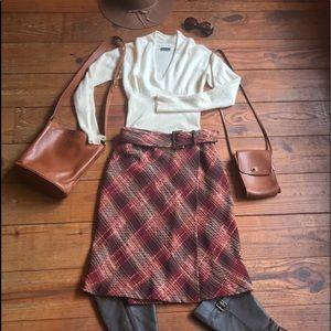 🍁 Vintage Belted Tweed Wrap Skirt